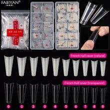 500 pçs meia capa francês falso unha arte dicas natural transparente caixão artificial acrílico uv gel unha polonês manicure ferramentas