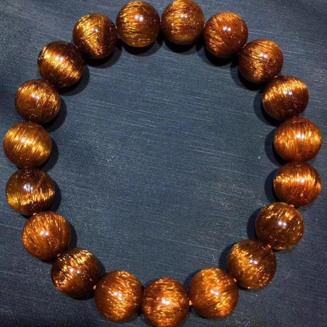 Gema de Cuarzo rutilado de pelo de cobre Natural genuino elástico redondo cuentas de cristal pulsera 10,5mm efecto ojo de gato raro AAAAA
