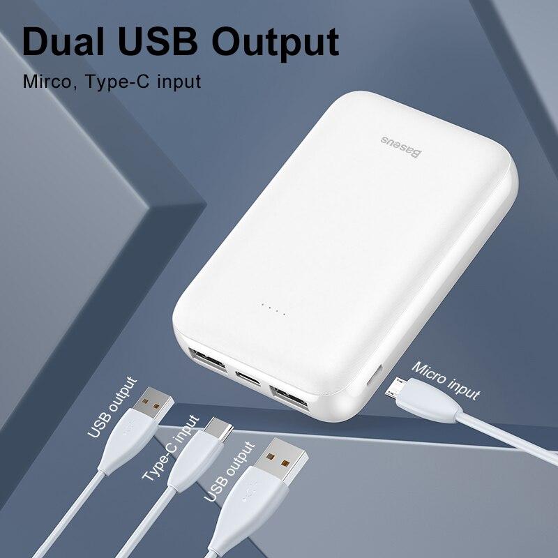 Baseus 10000 мАч mi ni power Bank портативное usb type C быстрое зарядное устройство маленький 10000 мАч power bank для iPhone Xiaomi mi внешний аккумулятор