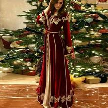 Robe Kaftan Evening-Dresses Dubai Long-Sleeve Muslim Burgundy Soiree Formal Lace Crew