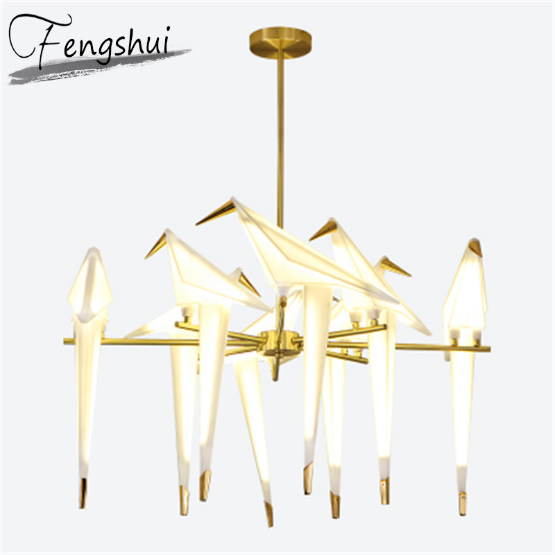 Nordic Bird LED Pendant Lamp LED Chandelier Origami Crane Bird Pendant Ceiling Lamp Living Room Wall Lamp Home Decor Desk Lamp