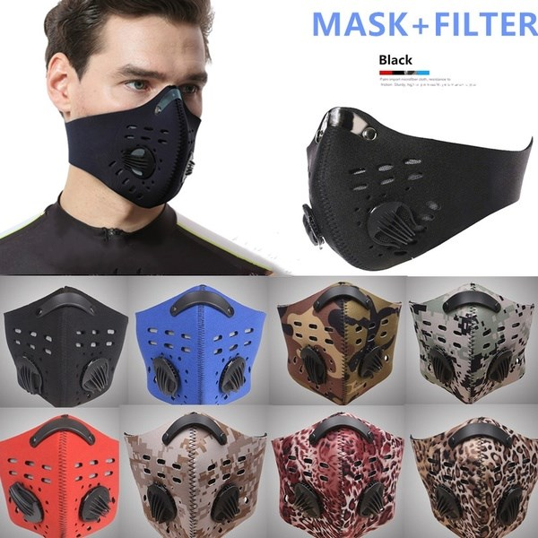 1 X Cycling Anti Dust Face Mask PM2.5 Mouth Muffle Carbon Filter Neoprene Respirator