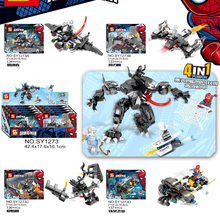 4pcs/lot Super Heroes Avengers Thanos Anti Venom Hulk Carnage Building Blocks Toys For Children Brinquedos