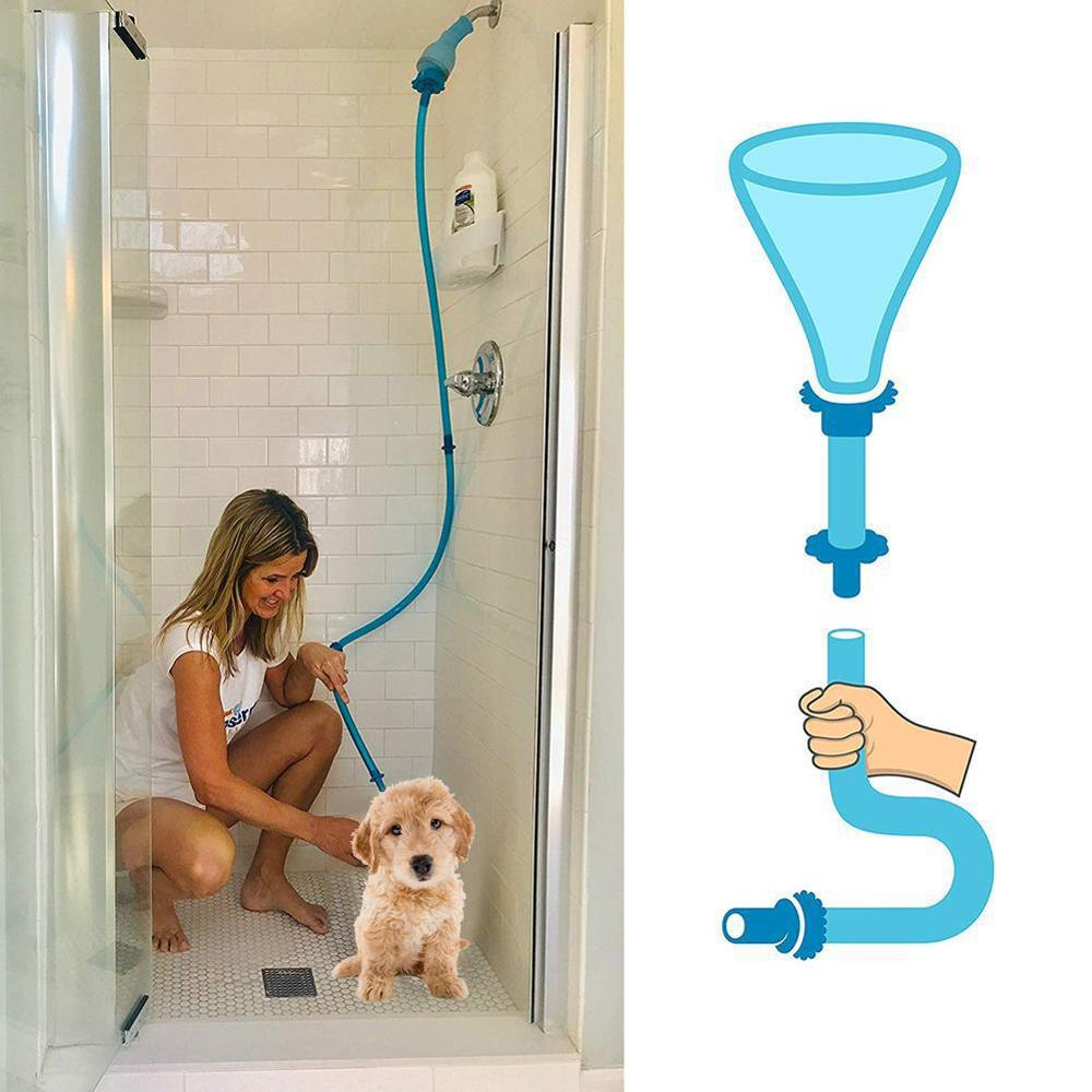 QQQPET Silicone For Dogs Cats Fits Universal Pet Shower Cleaner Sprinkler Hose Handheld Rinser Connector Dog Wash Hose
