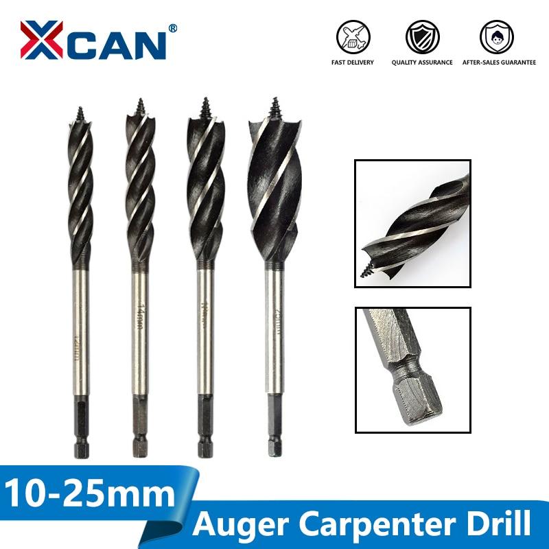 XCAN Wood Cutter Twist Drill Bit Hex Shank Wood Hole Cutter 4 Flute Auger Carpenter Drill Bit Core Drill Bit 10-25mm