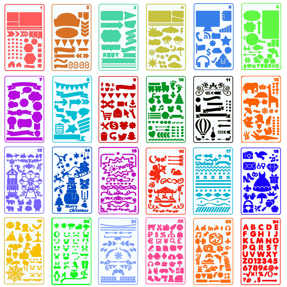 24 PCS Plastic Journal Planner Stencils Set Include Letter,Number,Drawing,Icons,Charts,Shapes,Art,Drafting For Journal Painting