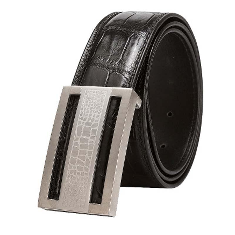 xiangdongdong  crocodile leather men belt Genuine crocodile leather male  belt crocodile Smooth buckle men belts