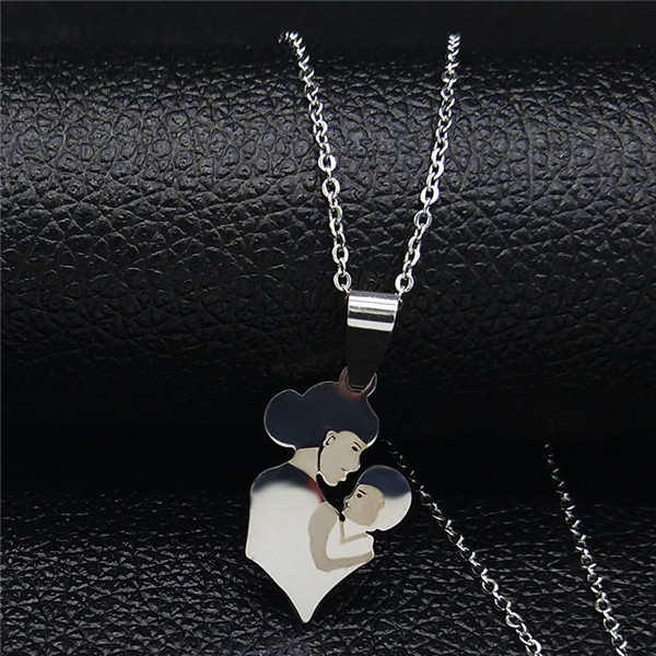 Mom Daughter Stainless Steel Chain Necklace Silver Color Necklaces Pendants Jewelry mujer Mother's Day Christmas Gift N539S01 7