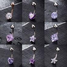 Piercing de zircônia feminino, anel de umbigo aço inoxidável para mulheres, joia do corpo