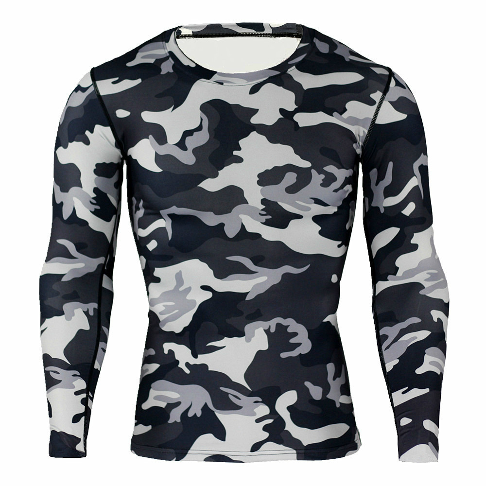 Outdoor Men Army Tactical T-Shirts Long Sleeve Camouflage Hiking T-Shirt Hunting Clothing Quick Dry Hunting Camping Hiking Tees
