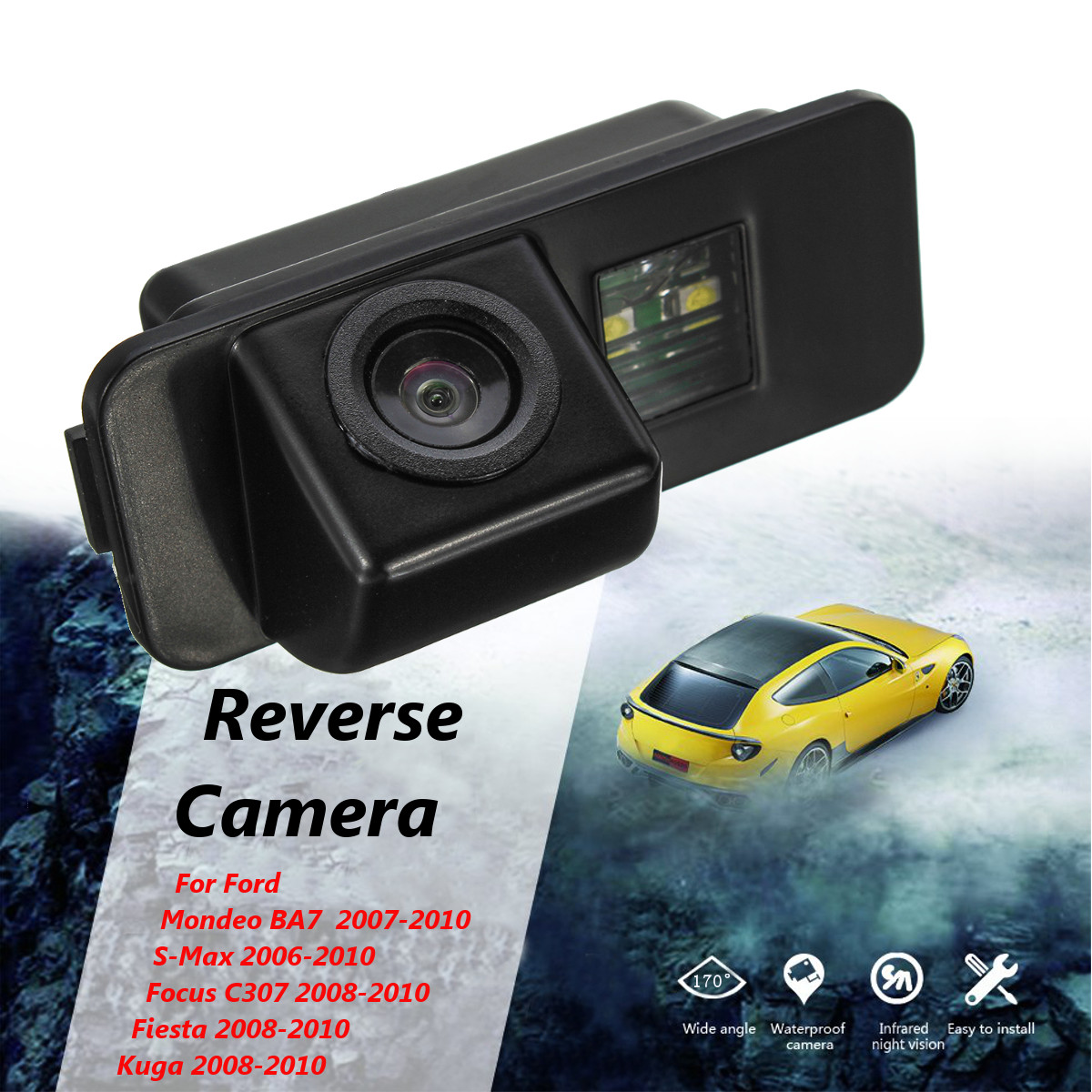 CCD Car Rear View Camera Backup Reverse Parking 170 Degree For Ford Mondeo BA7 S-Max Focus C307 Fiesta Kuga