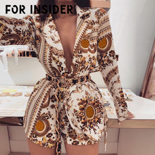 For Insider Vintage paisley print gold two piece suit blazer set Women long sleeve sexy v neck autumn Female winter
