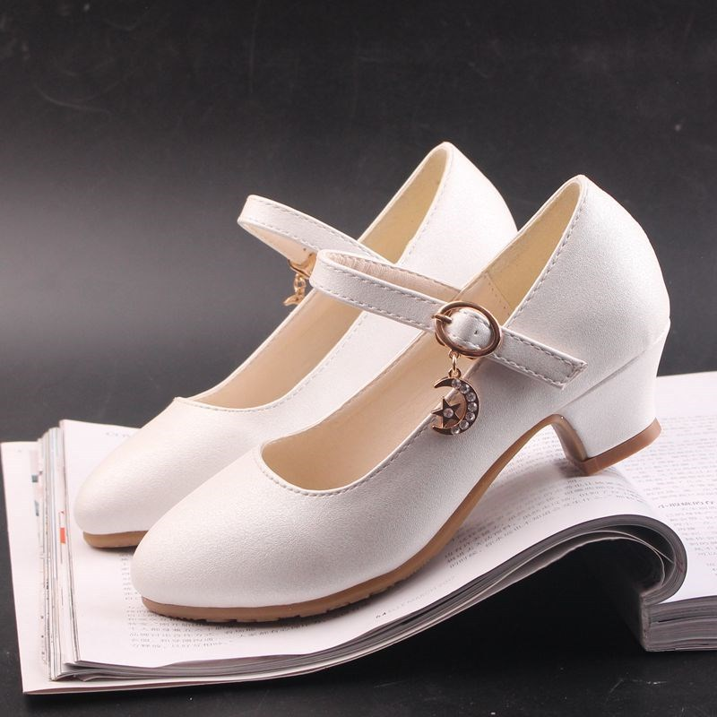 Black White Girls Shoes Flats Formal Party Wedding Shoes Kids PU Leather Teenage Children Shoes Girls With High Heels 2020 New