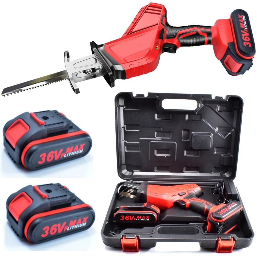 Portable 36VF 4500mAh Li-Ion Battery Cordless Reciprocating Saw Electric Saber Saw Blade Wood Metal Chain Saws Cut Power Tool
