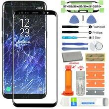 Juego completo de lentes de cristal 18 en 1 para Samsung Galaxy S7 +/S8/S8 +/S9/S9 +/S10/S10 +, lentes rotos en Color negro