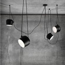 Lámparas colgantes de tambor de araña de hierro industrial modernas, luminarias de suspensión negras para bar y sala de estar, lámparas colgantes