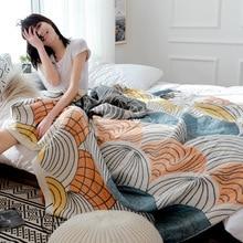 Toalla de gasa de algodón manta de muselina suave a cuadros para adultos en el/cama/sofá/avión/colcha de viaje