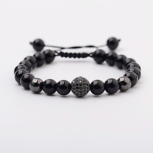 Black Zircon Ball Pave Beaded