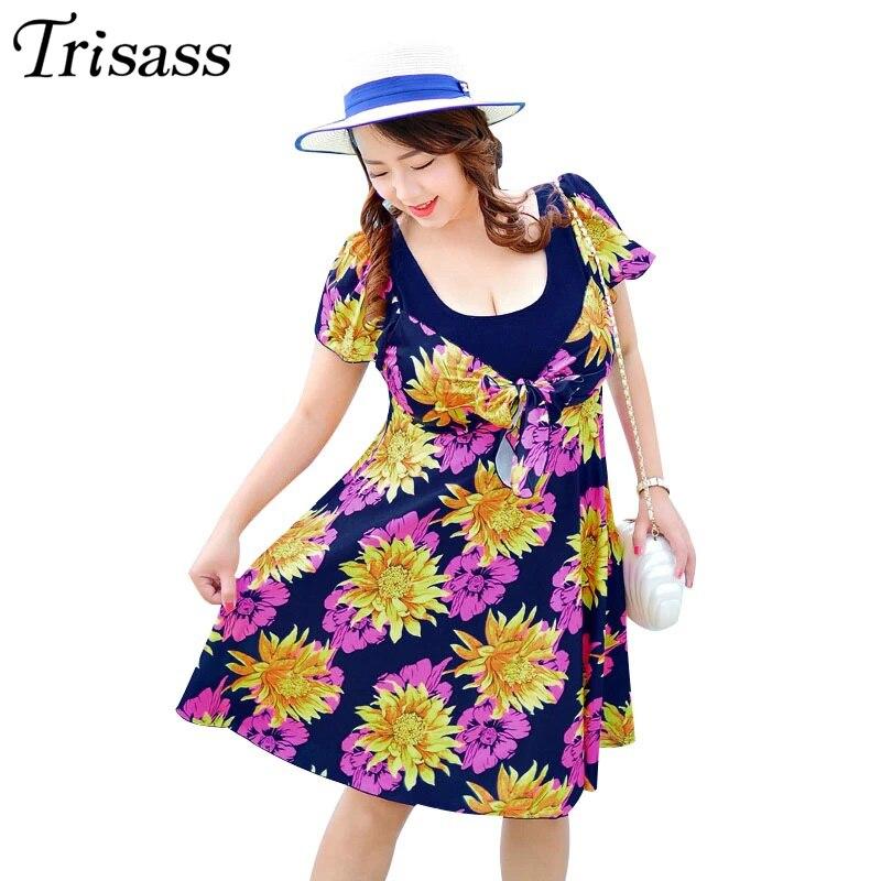 Trisass матери Одна деталь купальник размера плюс Для женщин юбка купальники 3XL-7XL 110 кг ванный комплект с цветочным принтом Монокини боди