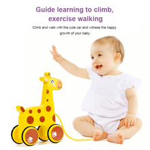 Wooden Cartoon Animal Trailer Children's Early Education Puzzle Hand Pull Rope Push Pull Walker Building Block Toy Car Kawaii