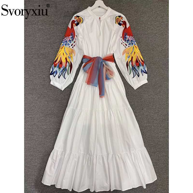 Svoryxiu 2019 New Colorful Embroidery Patchwork White Maxi Dress O Neck Lantern Sleeve Autumn Winter Designer Dresses Vestdios