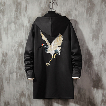 2020 Spring Autumn Plus Size Men Jacket Chinese Style Embroidered Crane Trench Hooded Long Sleeve Windproof Coat