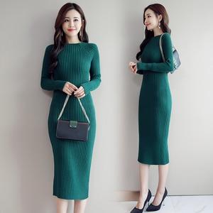 Image 5 - Sweater Dress Women Korean Fashion Woman Knit Dresses Winter Woman Cardigan Bodycon Dress Elegant Women Sweaters Dresses Vestido