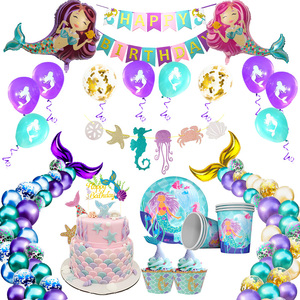Little Mermaid Party Supplies Theme Mermaid Decor Mermaid Birthday Party Decorations Kids Birthday Baby Shower Party Decoration