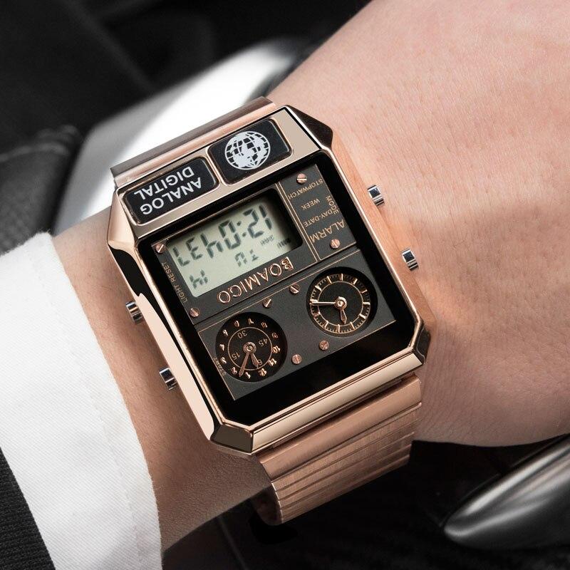 BOAMIGO Топ бренд Роскошные спортивные часы мужские модные цифровые аналоговые светодиодный часы подарок на Новый год relogio masculino - 5