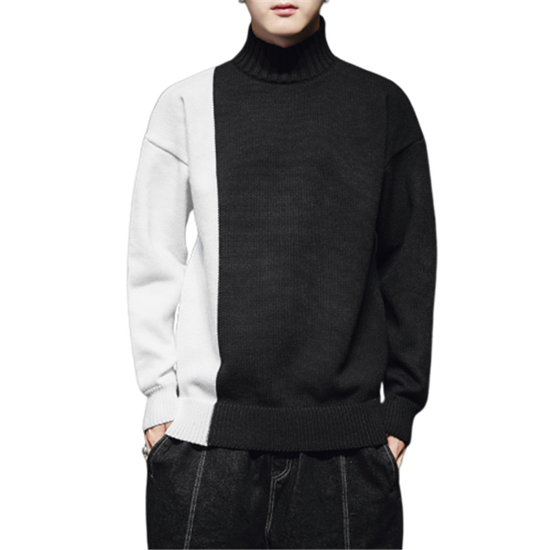 Men Sweater Turtleneck Clothing Pullovers Long-Sleeve Knitted Streetwear Male Thick Winter