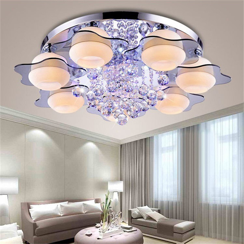 Image 5 - minimalist  3/5 light colored led crystal chandeliers for Bedroom Remote Control Glass Surface Mounted ceiling lamp Fixture-in Ceiling Lights from Lights & Lighting