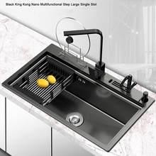 Ücretsiz kargo YUJIE kalınlaşmış çok fonksiyonlu siyah el yapımı lavabo özel 304 paslanmaz çelik lavabo ACHY-1054