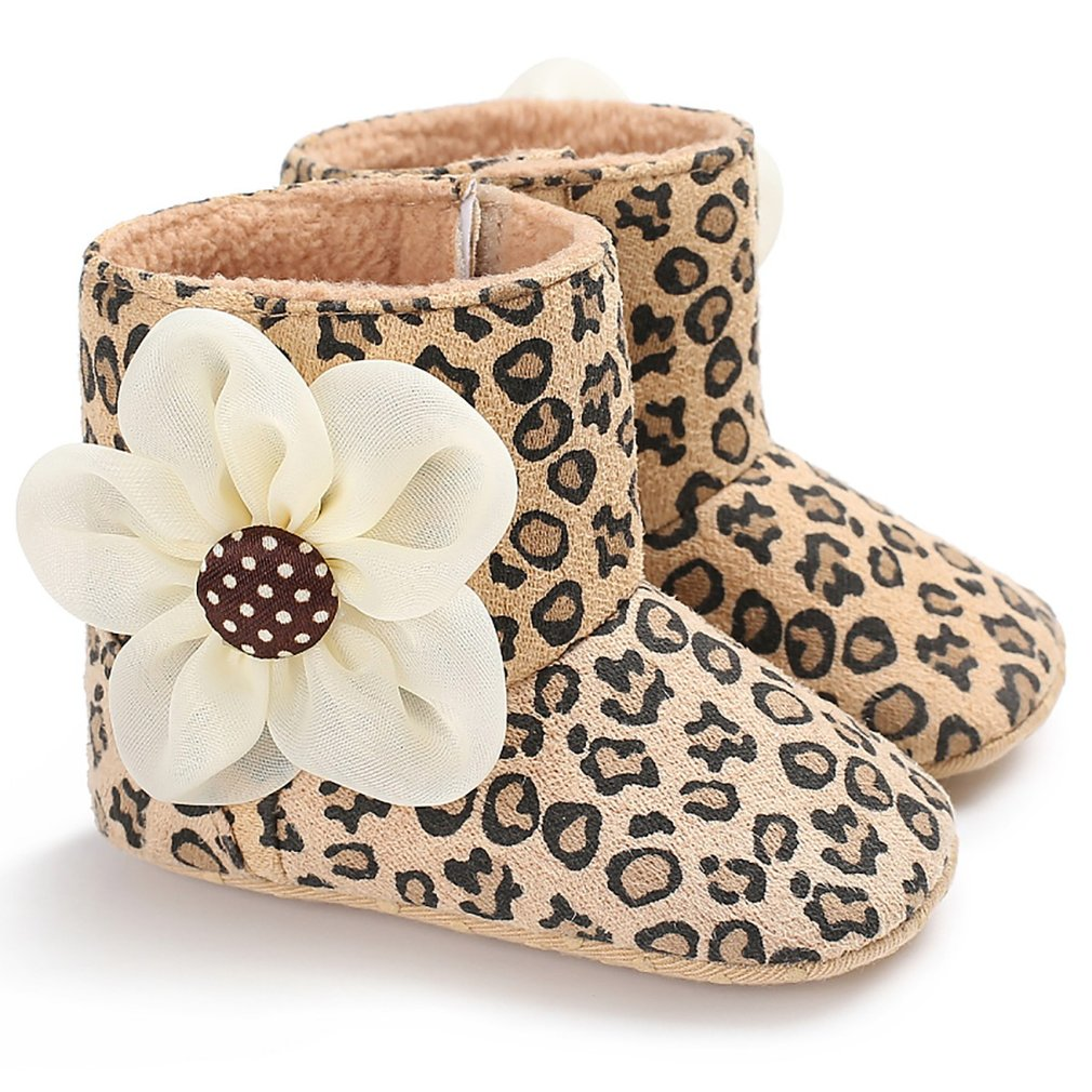 Fashion Baby Shoes Boots Anti-skid Cotton Boots With Flower Thicken Warm Winter Shoes Toddler Shoes For Baby Girls