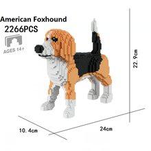 Pequenos blocos modelo de cão foxhound mini tijolos brinquedo de construção animal adultos presente aniversário diversão crianças presente educacional