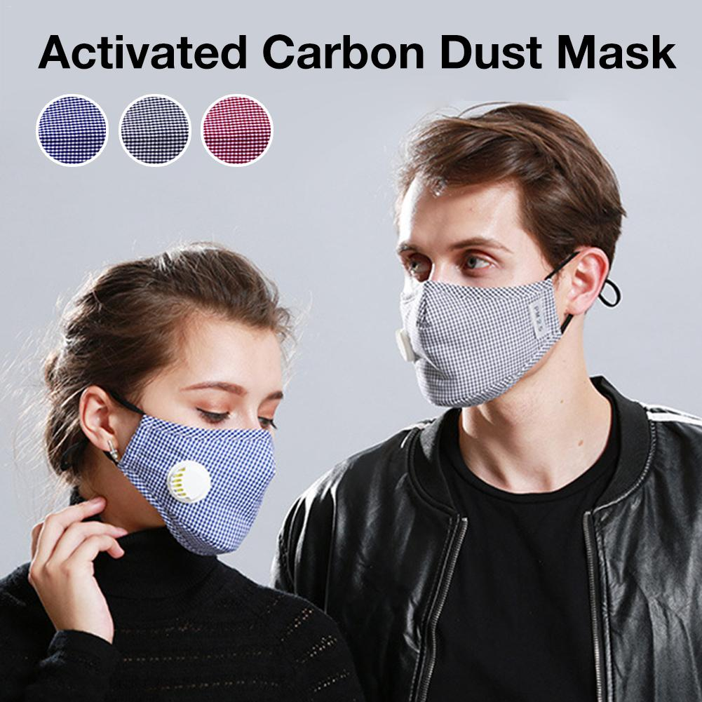 5PCS Activated Carbon Dust Mask Riding Mask Windproof Warm Plaid Pattern Upgraded Activated Carbon Dust-proof Mask