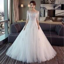 Moda basit 100 CM uzun tren Vestido De Noiva 2020 yeni stil üç çeyrek artı boyutu düğün elbisesi dantel tül gelin illusion