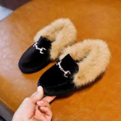Venda quente meninos meninas de veludo loafer novo inverno quente crianças sapatos de pele tamanho 21-35 plana princesa meninas sapatos crianças presente de natal