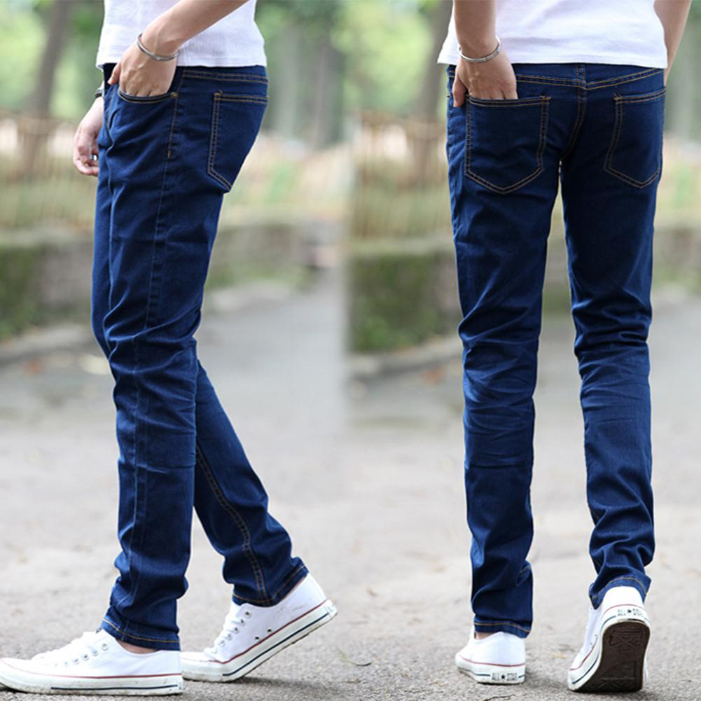 2019 Fashion Men Casual Slim Fit Straight Stretch Zipper Jeans For Male Fashion All-match Winter Thermal Straight Trousers