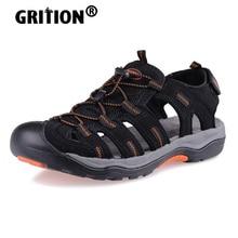 GRITION Men Outdoor Sandals Summer Breathable Flat Sole Beach Shoes Trekking Flip Flops Hiking Non Slip Nubuck Leather Luxury