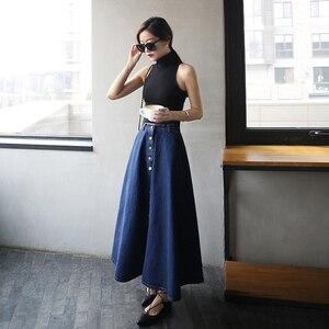 Image 2 - تنورة طويلة للسيدات بألوان سادة من قماش الدنيم على طراز بريبي كوري مواكب للموضة لعام 2020 ، تنورة عالية الخصر للنساء بحاشية كبيرة ، كاجول بسحّاب ، تنورة بأزرار