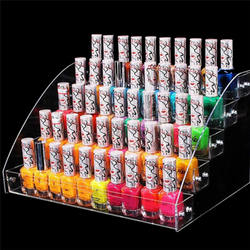 2/5 camadas de acrílico transparente unha polonês expositor rack cosméticos verniz organizador suporte caixa armazenamento ferramenta manicure