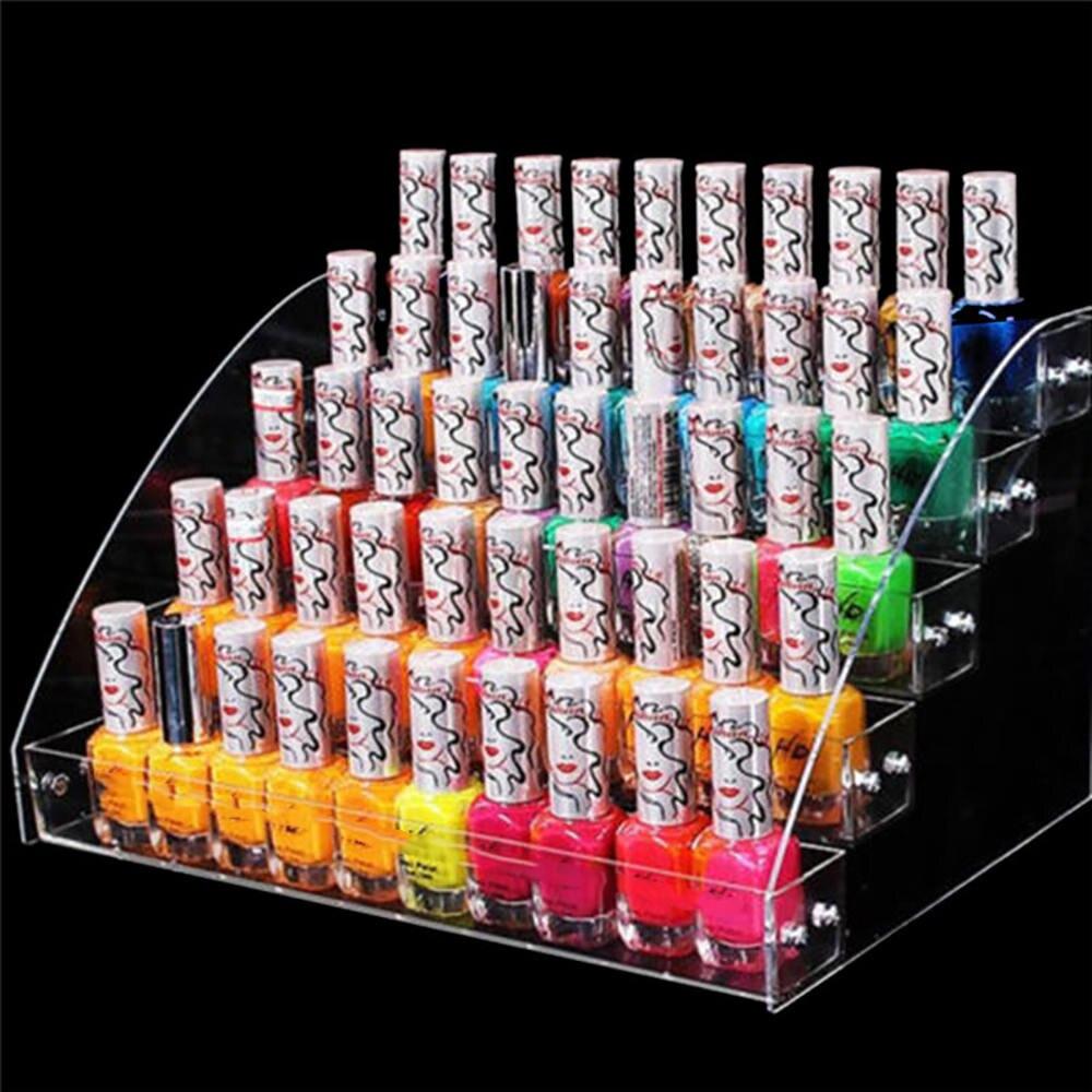 2/5 Layers Acrylic Clear Nail Polish Display Rack Cosmetic Varnish Organizer Stand Holder Manicure Tool Storage Box