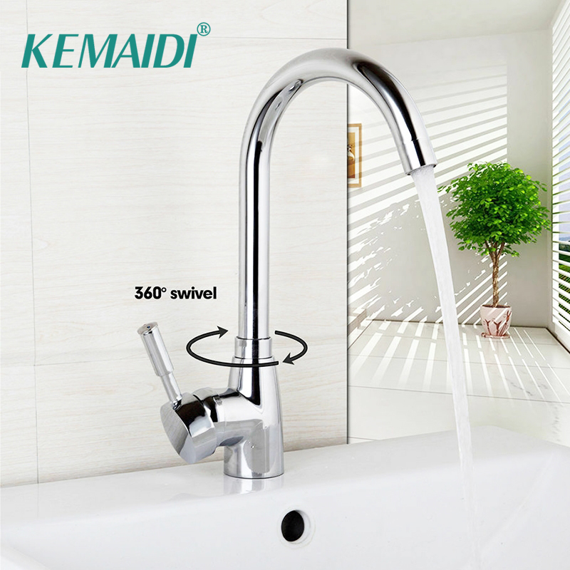 KEMAIDI Stainless Steel Swivel Kitchen Faucet 360 Degrees Chrome Brass Kitchen Mixer Basin Sink Faucet Swivel Water Mixer Tap
