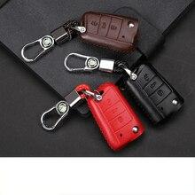 Lsrtw2017 Genuine Leather Car Key Bag for Skoda Kodiaq Karoq Interior Mouldings Accessories