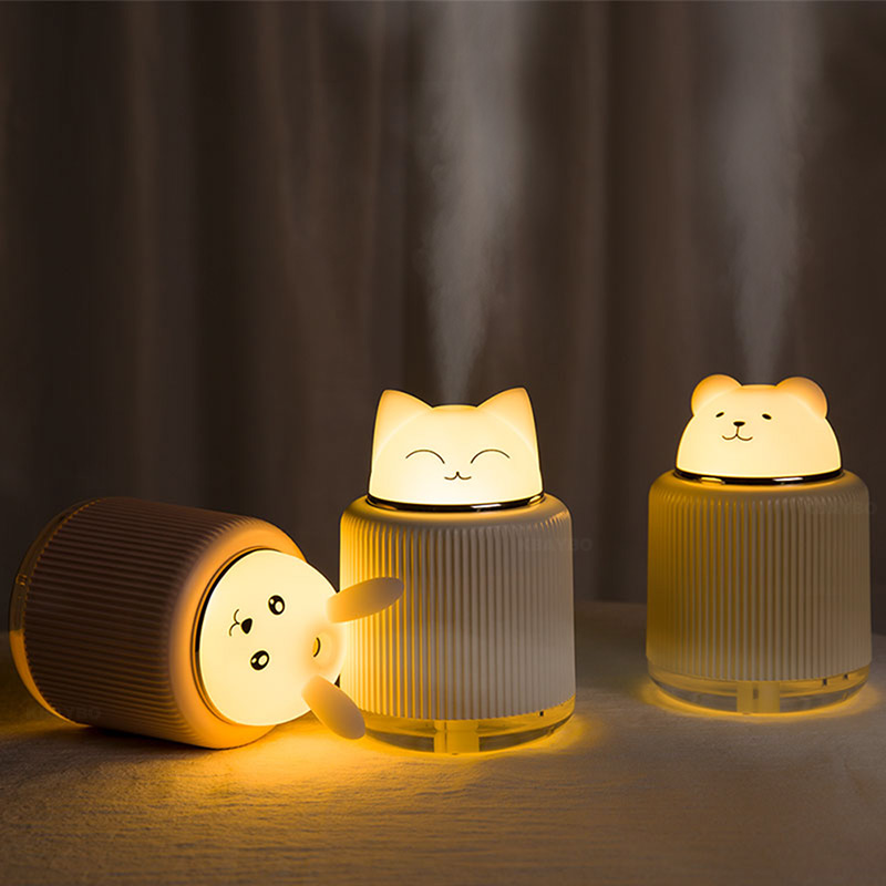 Bear Rabbit Cat Animal Night Lamp With Diffuser LED Lights USB Air Humidifier For Home Baby Sleep Light Room