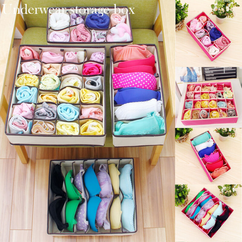 Foldable Underwear Drawer Organizers Dividers Closet Dresser Clothes Storage Organizer Box For Bras Scarves Ties Socks Boxes