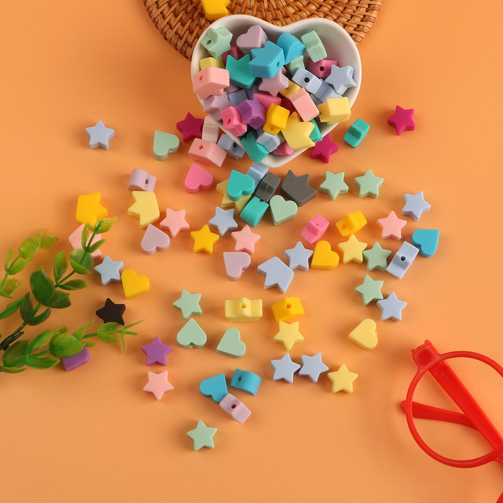Kovict Wholesale 100/200/500/1000pcs Silicone Beads Star Heart Crown DIY Teething Necklace Accessories Teething Pacifier