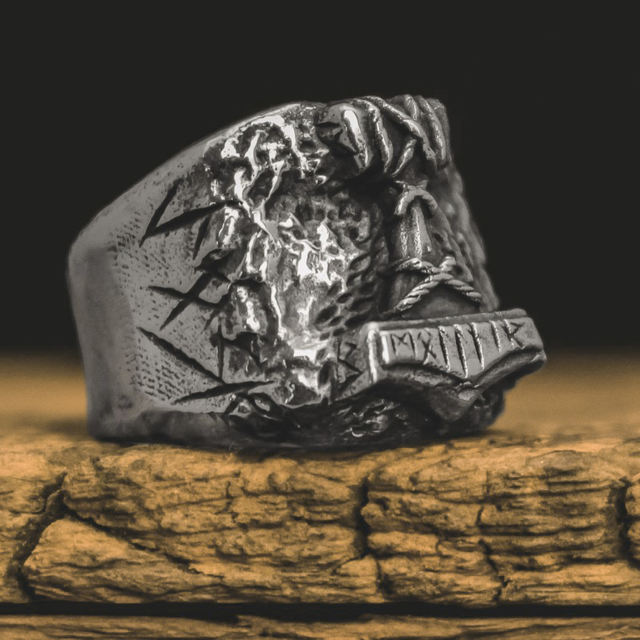 STAINLESS STEEL SON OF ODIN THOR HAMMER RINGS