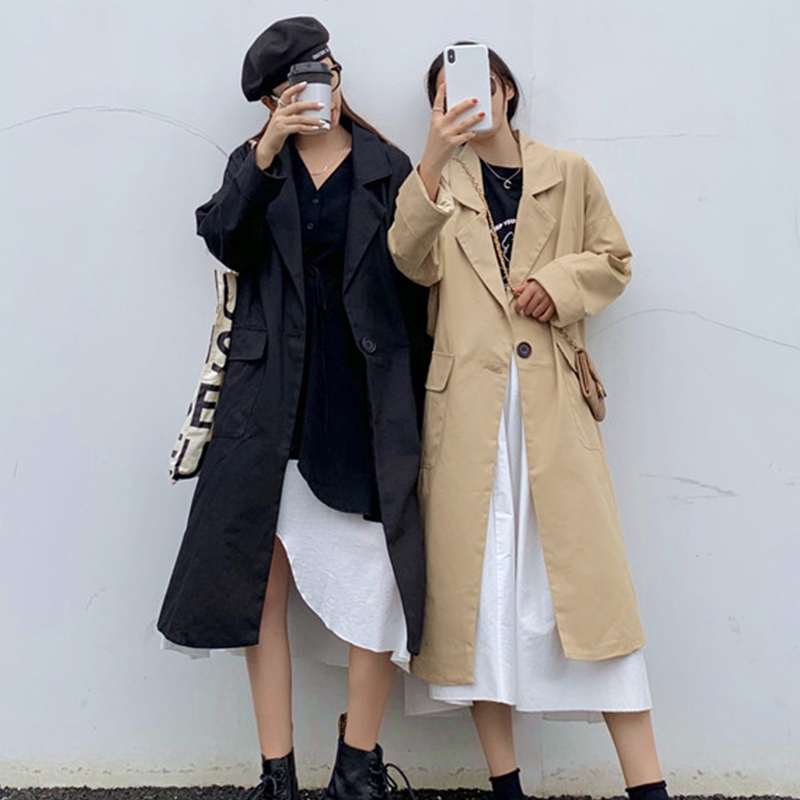 2019 Autumn Winter Women's Long   Trench   Turn-Down Collar Single Button Female   Trenches   Pocket Casual Ladies Outwear Coats Fashion