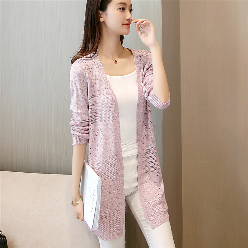 The Summer Of 30 New Products In The Long Section Of Women's Knitwear Sunscreen Clothing Female Openwork Cardigan F1834